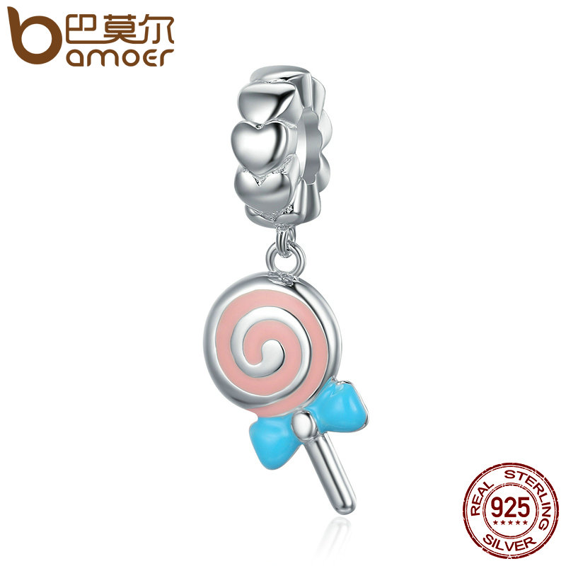 купить BAMOER Trendy New 925 Sterling Silver Sweet Lollipop candy Sweetie Pendant Charms fit Women Charm Bracelets Fine Jewelry SCC349 в интернет-магазине