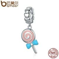 BAMOER Trendy New 925 Sterling Silver Sweet Lollipop Candy Sweetie Pendant Charms Fit Women Charm Bracelets