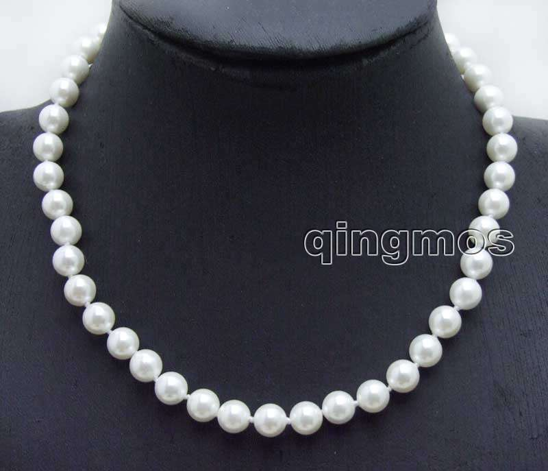 SALE Small 8mm Round High Quality White Sea shell Pearl 17 necklace-nec6019 Wholesale/retail Free shipping