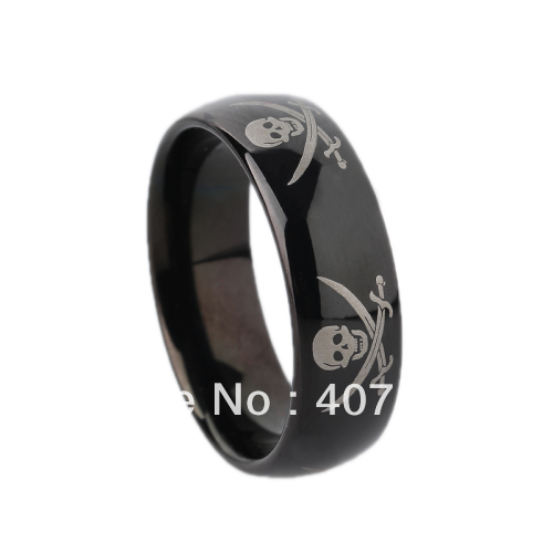 Free Shipping Price Usa Canada Uk Russia Brazil Hot S 8mm Black Dome Pirate Skull Mens Tungsten Wedding Ring Size 6 13 In Bands From