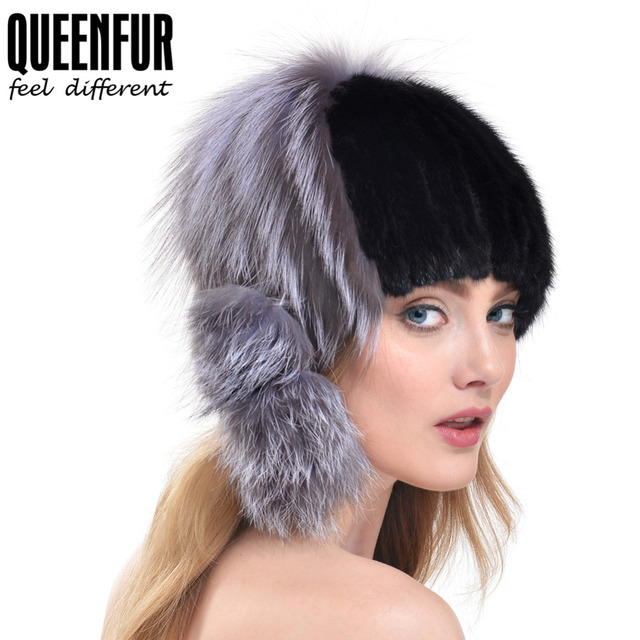 QUEENFUR Imported Genuine Knitted Mink Fur Hat With Silver Fox Fur Pom Poms Beanies 2016 Winter Russia Style Women Real Fur Cap