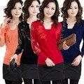 2016 nuevas mujeres del invierno suéter bordado de la flor de lana de punto señora top blusa mujer camiseta los géneros de punto rojo, naranja, negro. azul S ~ 3XXXL
