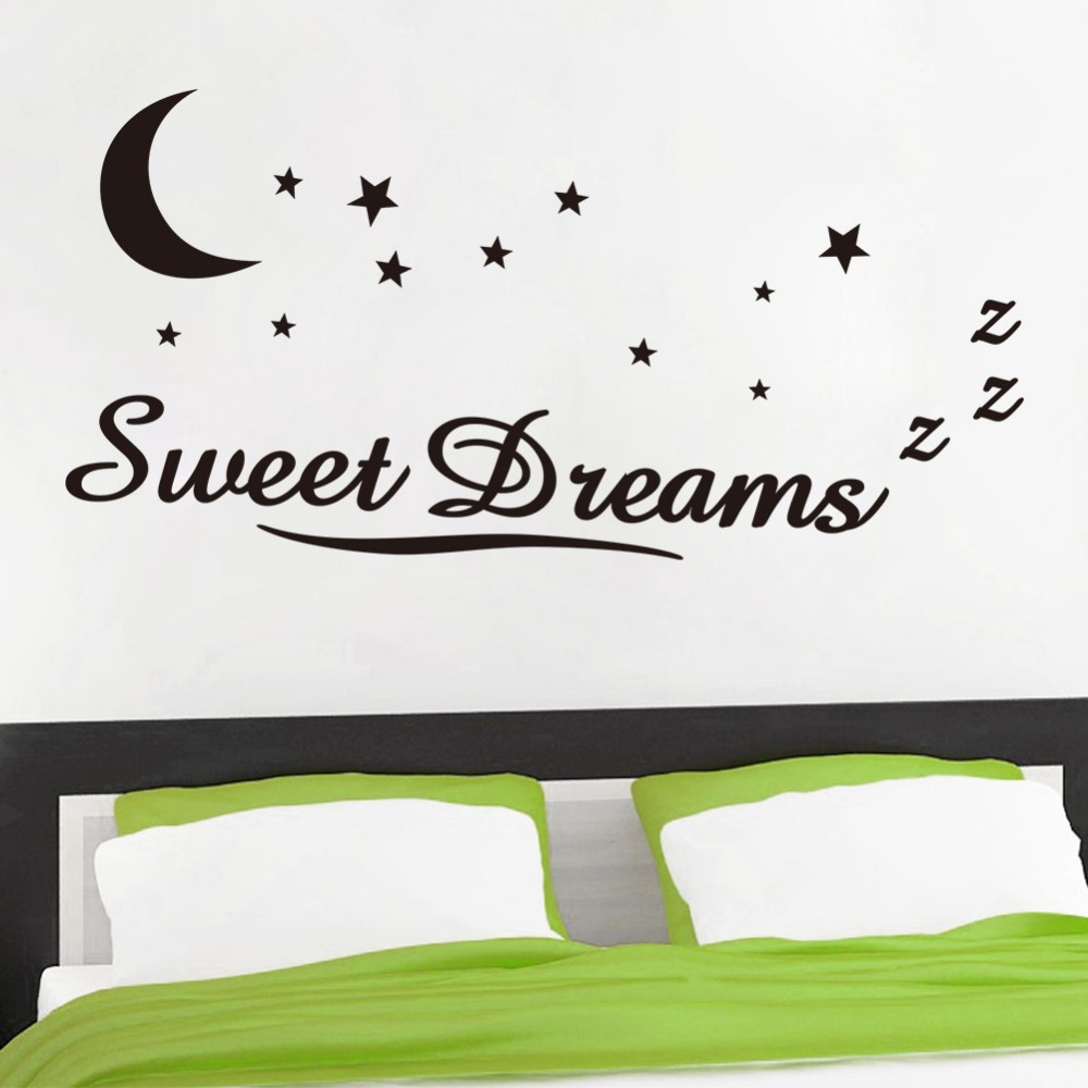 Wall Sticker Quotes sweet dreams moon stars quotation Art