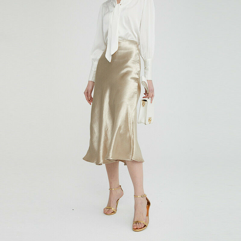 2019 Summer Glossy Satin Trumpet Skirts High Waist Skirt Silver Gold Office Knee-length Skirt Metallic Color Shiny Party Skirts