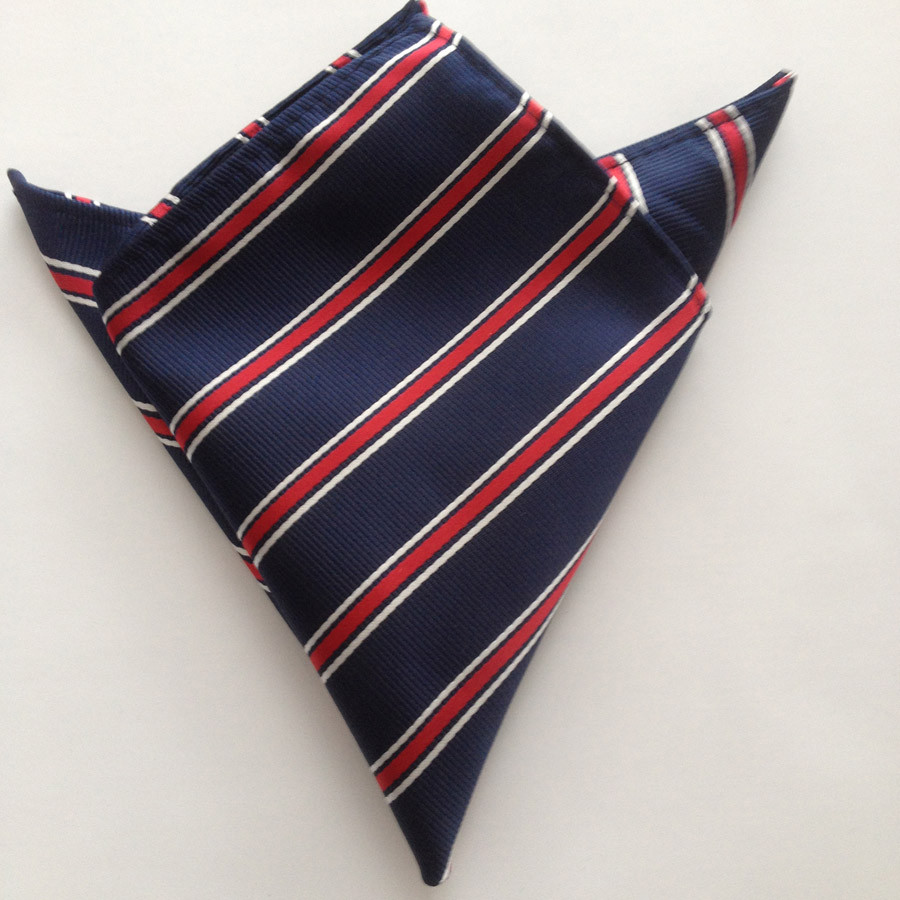 Модные галстуки 8 см строгий галстук темно-синий с красными и белыми диагональными полосками галстук тканый квадратный карман