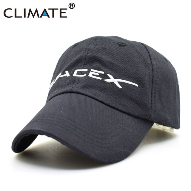 CLIMATE Spacex Dad Caps Men Women Cool Black UFO Baseball Cap Cotton Outer Space Rocket Musk Fans Sport Active Cool Caps Hat