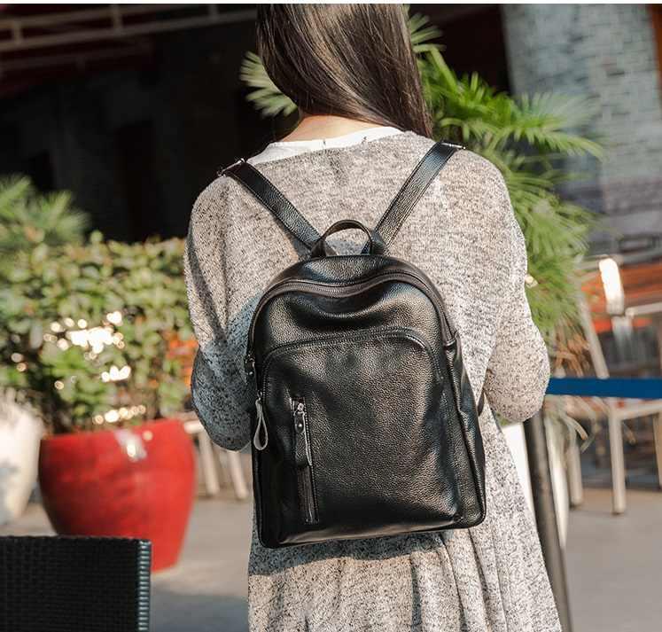 2019 Kulit Asli Tas Ransel Wanita dengan Kapasitas Besar Tas Wanita Ransel untuk Gadis Remaja Desain Baru C275