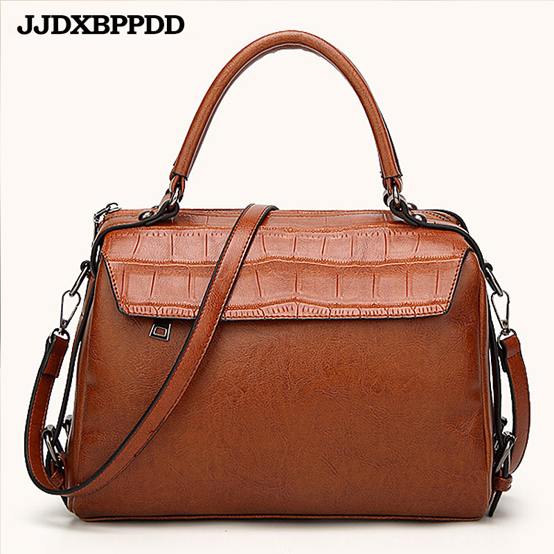 JJDXBPPDD 2018 PU Leather Top-handle Women Handbag Solid Ladies Lether Shoulder Bag Casual Large Capacity Tote Crossbody Bags