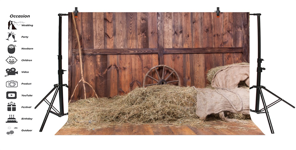 Laeacco Fade Farm Wooden House Hay Bale Branch Scene Baby Portrait Photographic Background Photography Backdrop For Photo Studio in Background from Consumer Electronics