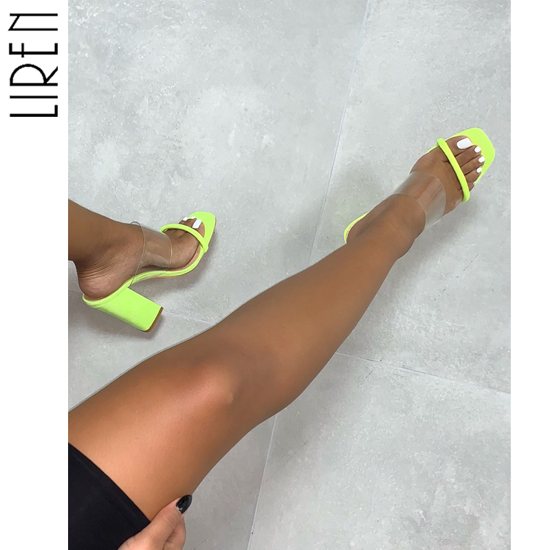 Liren 2019 Concise PU Ladies Slippers Transparent Open Toe Block High Heels Fashion Ladies Mules Party