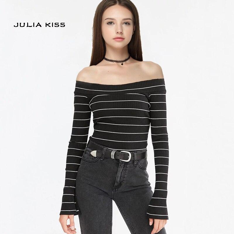 Для женщин топы с открытыми плечами с Разделение с длинным рукавом с плеча футболка в рубчик ...