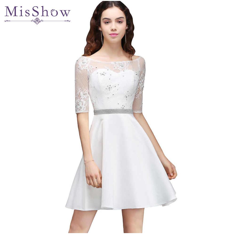 Ivory Satin Short Prom Dresses vestido de festa Lace Prom Dress Scoop Neck Short  Sleeve A ebfc4aab218e