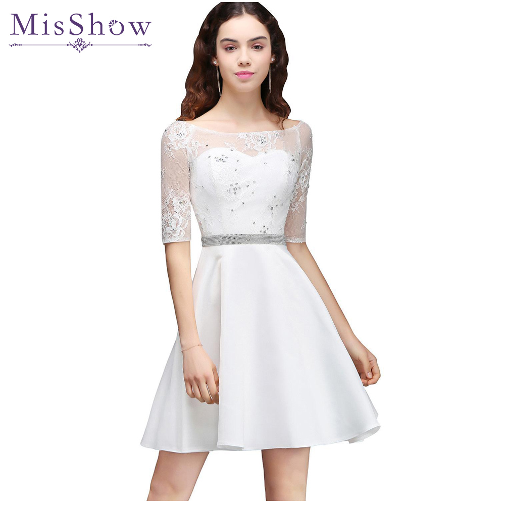 Ivory Satin Short   Prom     Dresses   vestido de festa Lace   Prom     Dress   Scoop Neck Short Sleeve A-line Sheer Back Party   Dresses