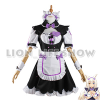 Womens NEKOPARA Chocola Vanilla Maid Cosplay Costume Sexy Cute Dress Full Set