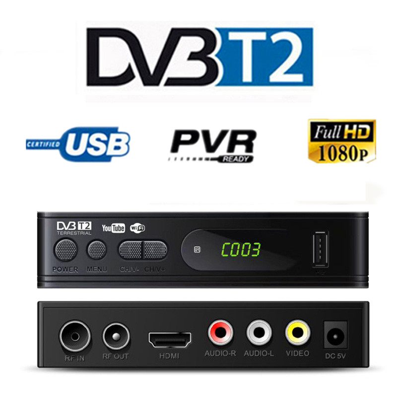 HD 1080p Tv Sintonizador Dvb T2 USB2.0 Caixa Dvb-t2 Para Adapter Monitor Vga TV Tuner Receptor de Satélite Decodificador Dvbt2 manual Do russo