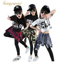 Songyuexia Girls' Cotton Cheerleader Sweater Shorts Set 2017 Retail Wholesale Jazz Modern Dance Costume 110 180cm