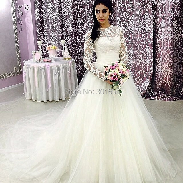 Elegant Simple Long Sleeve Wedding Dresses With Lace 2015: Oumeiya OW161 A Line Tulle Skirt Lace Top Elegant Simple