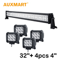"Auxmart CREE Chips LED Light Bar 32"" 180W Combo Beam +4x 18W 4"" Led Work Lights Flood/Spot Beam Fit Truck SUV 4X4 4WD ATV"