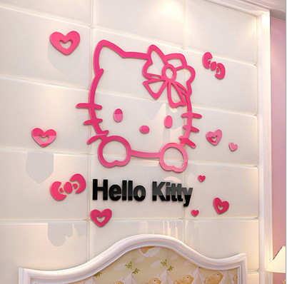 Hello Kitty Childrenu0027s Living Room TV Backdrop Bedroom 3D Acrylic  Three Dimensional Wall Stickers