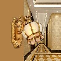 Европейский ретро латунь лампы 110 В ~ 220 В Освещение в помещении настенный светильник E27 Спальня Настенные светильники Современные Освещение