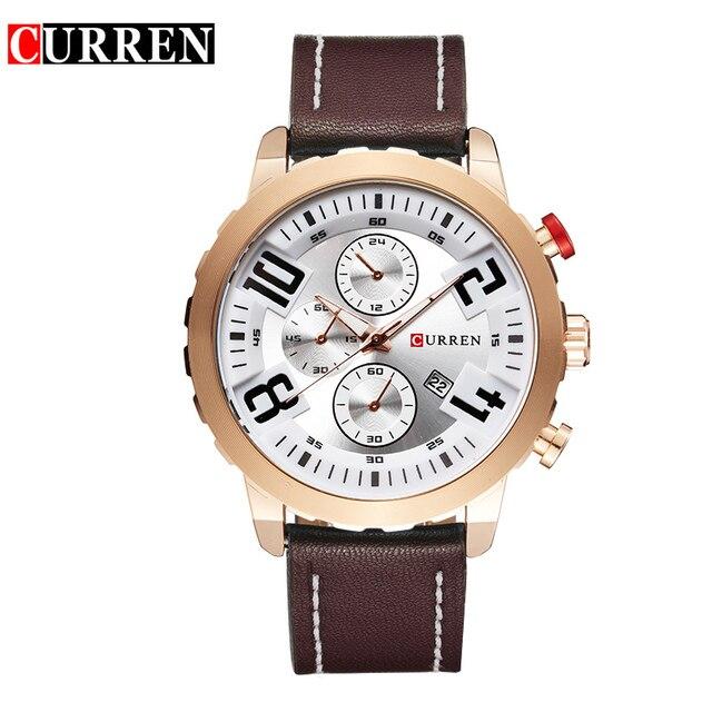2016 Curren Cuarzo de la Marca de LUJO de oro Relojes de Lujo de Los Hombres Relojes de Pulsera de cuero Regalos pulsera de los hombres 8193