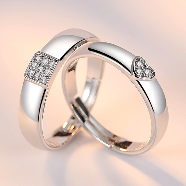 Adjustable Crystal Love Heart Rings For Women