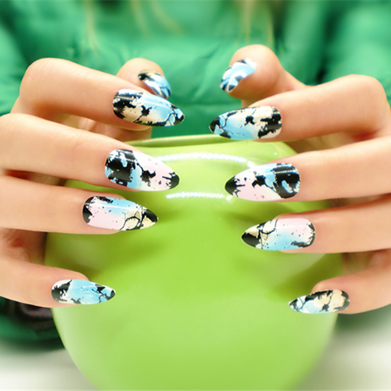 Diseño de sharp ending moda fasle uñas stiletto abs fake nails art ...