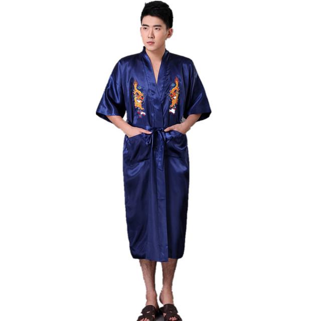 Hombres Robe ropa de Noche de Satén de Seda Bordado Dragón Chino tradicional Yukata Kimono Bath Vestido Sml XL XXL XXXL Z005
