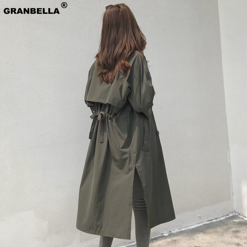 Korean style loose women's casual sashes long thin   trench   coat women plus size spring streetwear chic overcoat