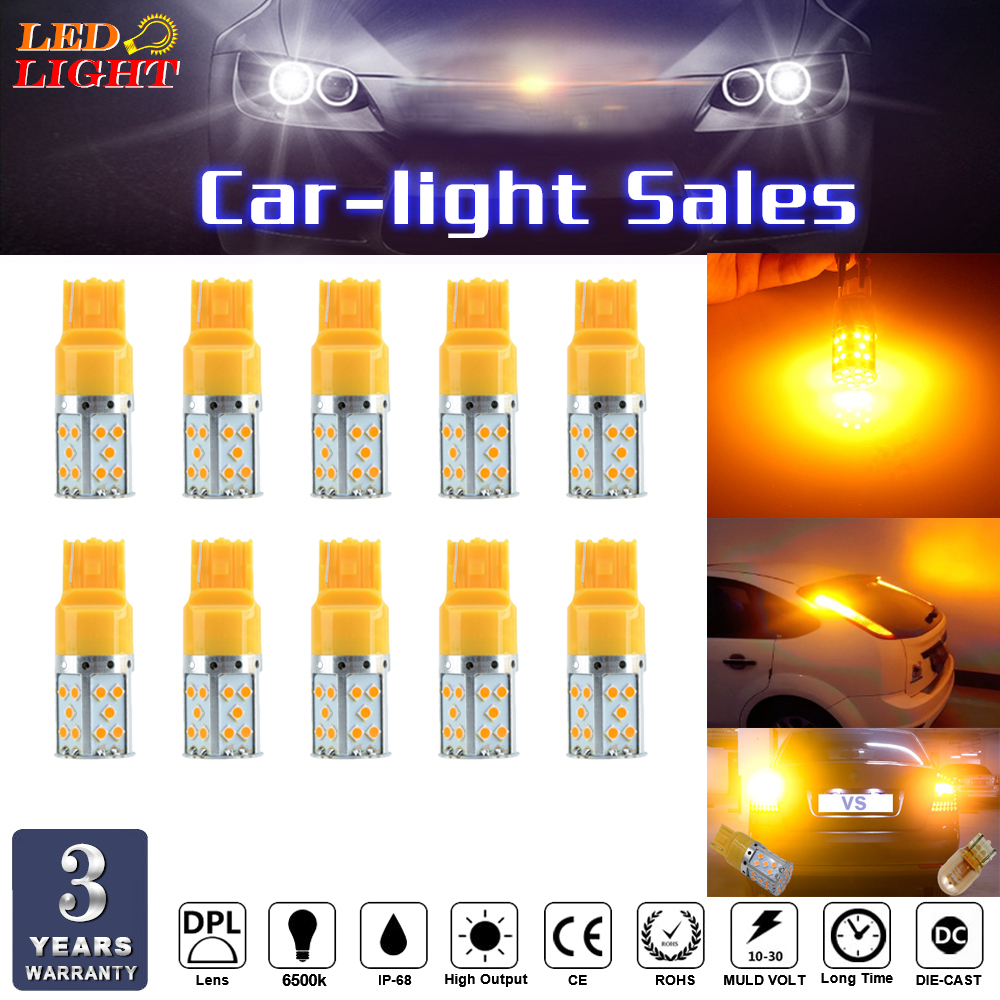 keyecu 10X 12V 2590 Lumens Extremely Bright Error Free 3030 Chipsets 7507 T20 LED Bulbs Used for Turn Signal Lights,Amber Yellow ijdm high power amber yellow error free 21smd 2835 led bau15s 7507 py21w 1156py led bulbs for front turn signal lights 7507 led