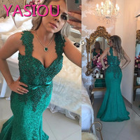 Dark Green Lace Mermaid Evening Dresses 2017 Sweetheart Beaded Applique Wide Straps Long Formal Prom Dress