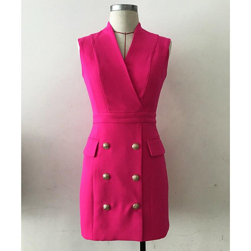 Haut à la mode haute rue européenne femmes sans manches col en v Double boutonnage boutons Slim droite Mini robe