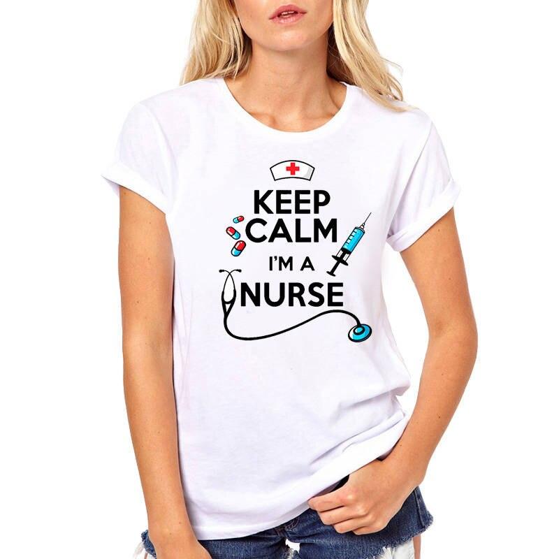 Tee Shirt Shop Short Sleeve Printing Machine O-Neck Womens Keep Calm IM A Nurse T Shirts