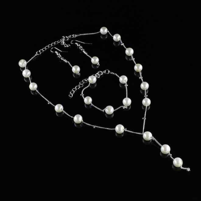2017 Hot High Quality Rice shape pearl 3 piece suit accessories necklace pendant ring and earrings women's wedding party jewelry