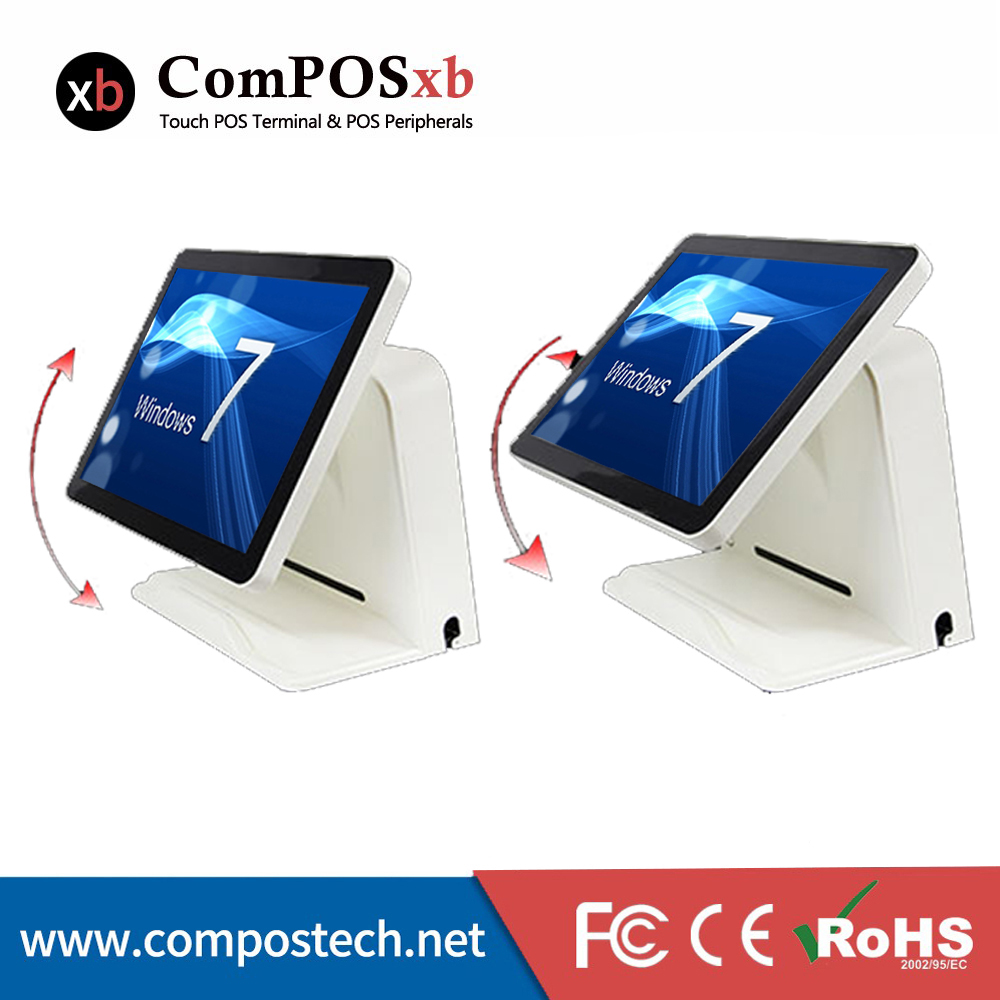 "Free Shipping Stock POS System 15"" 5 wire Resistive Touch Screen All In One Machine For Restaurant-in LCD Monitors from Computer & Office    3"
