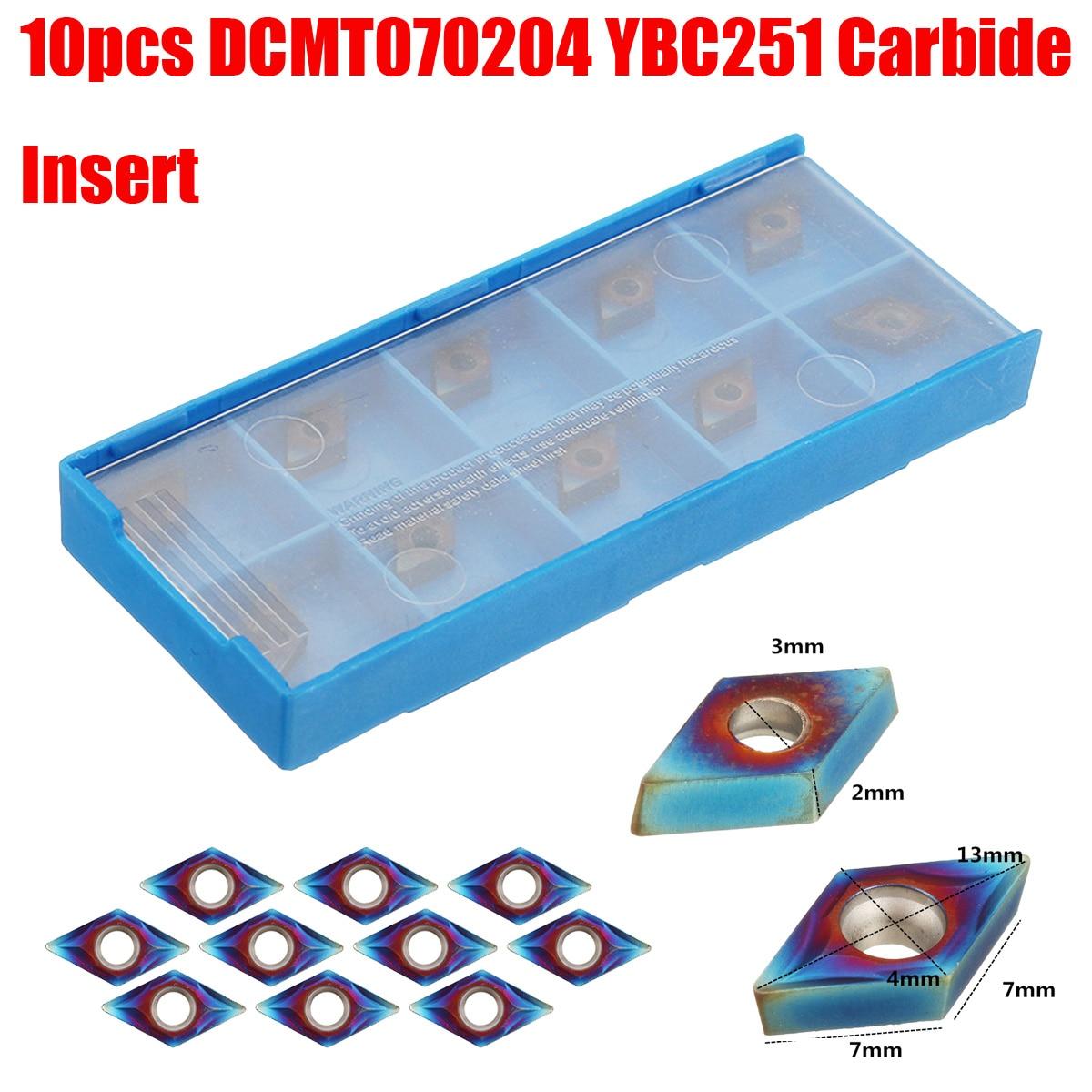 10pcs Blue Nano DCMT070204 Carbide Insert For SDNCN1010H07/SDNCN1212H07 Turning Tool Holder Set With Box