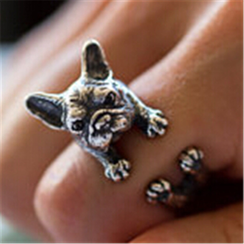 LBS Vintage bulldog rings Dachshund Dog jewerly Gun Black / Antique Silver / Antique Bronze Sausage Dog Ring