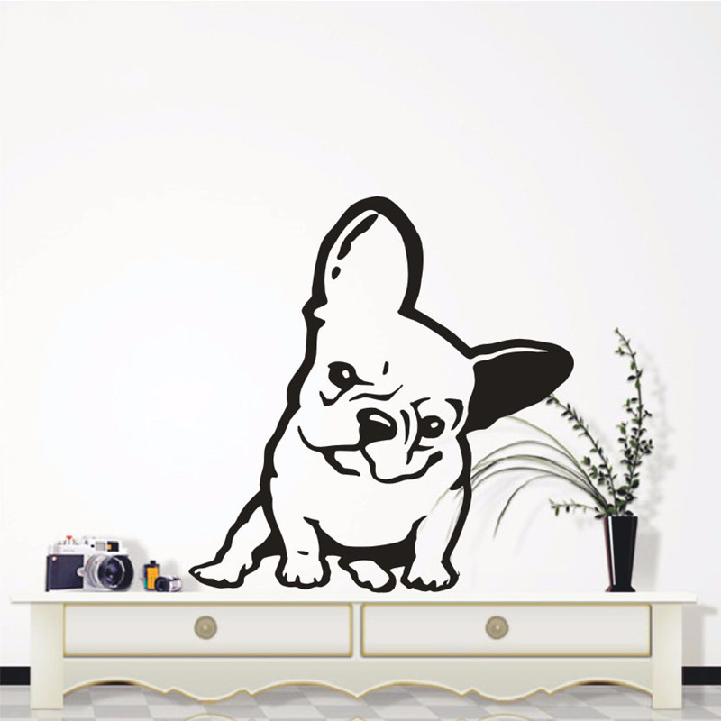 Dog Wall Decal French Bulldog Melancholy Face Vinyl Wall Sticker Home Decor Suitable For Smooth Surface To Paste High Quality