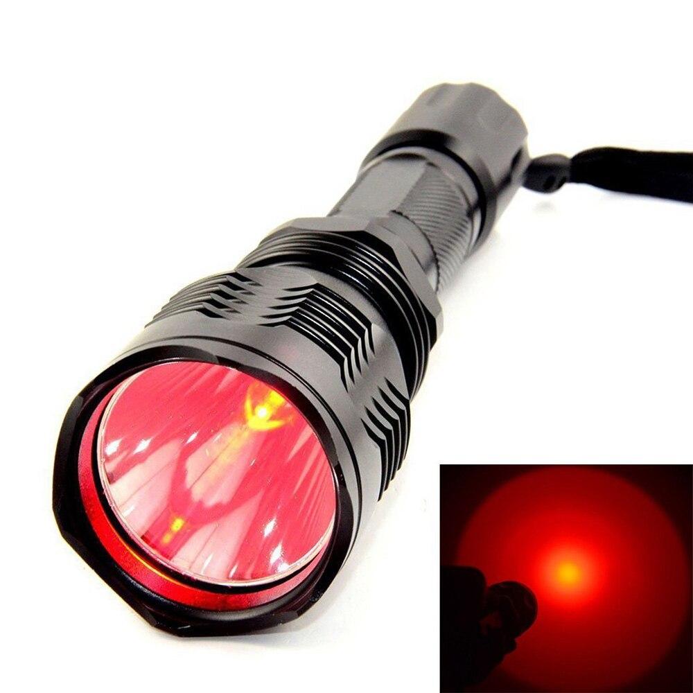 Udendørs vandtæt taktisk lommelygte Uniquefire HS-802 rødt lys XRE LED-pære genopladeligt til 1 * 18650 batteri