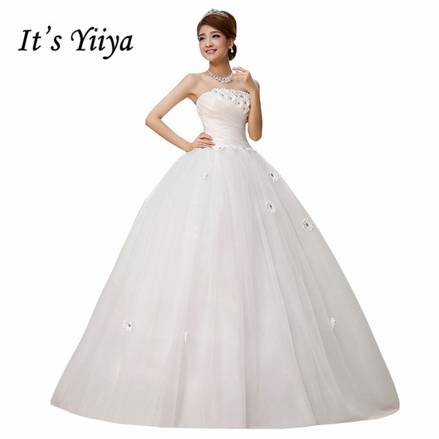 Free Shipping Strapless Flowers Simple Wedding Dresses Cheap White Bridal Frocks Custom Made Vestidos De Novia