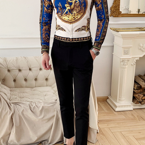mens long sleeve shirts Fashion Social Party Shirts leopard printed Casual Shirts Baroque Long Sleeve mens Slim dress shirts Multan
