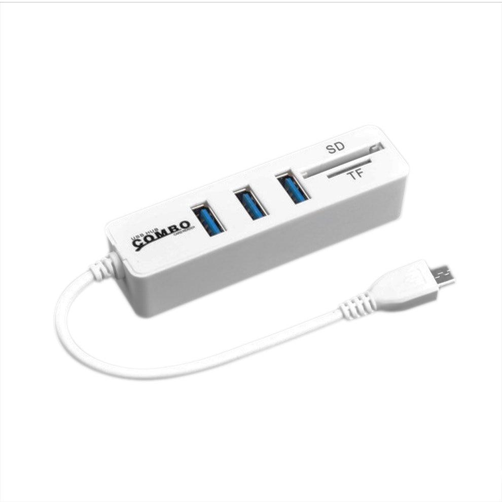 8 pièces USB 2.0 Moyeu Splitter 2 En 1 SD/Lecteur De Carte TF Blanc OTG USB Combo 3 Ports Haute Vitesse
