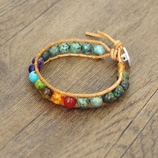 Handmade Boho Leather 7 chakra Bracelet Natural Stone Beads Yoga Wrap Chakra Charm Bracelet Boho Women Men Fashion Jewelry Gift