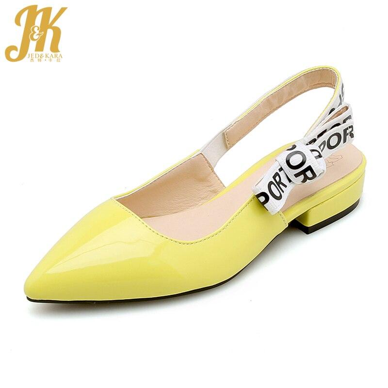 JK 2019 Fashion Summer Pointed Sandals Women Slip On Shoes Low Heels Sandals Female Square Heels Ladies Slingback Sandals Women