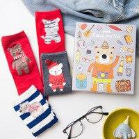Cadeau Boîte 4 Paires Femmes Chaussettes Marque Qualité Rouge Coton 2018 Nouveau Cadeau De Noël Chaussettes En Gros