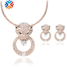 Free Shipping Fashion Women Jewelry Sets Rhinestone Lion Head Necklace Earrings Dangle Pendants Gold Plated Crystal Party Gift
