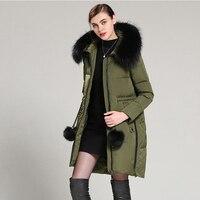2017 New Winter Women Fur Parka Long Down Jacket Ladies Coat Raccon Fur Collar Hood Parka