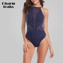 Charmleaks Women One Piece Swimsuit Mesh Swimwear Deep V Swimwear Bandage Sexy Monokini Bathing Suit Bikini