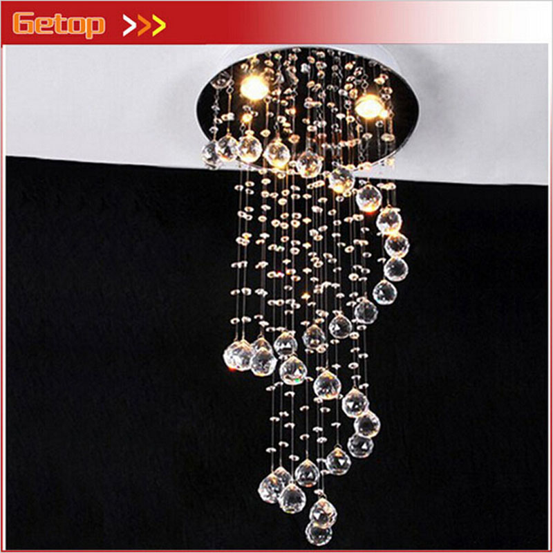 Modern Crystal LED Pendant Lamp Loft Double Spiral Staircase Droplight Luxury Hall Villa Living Room Chandelier Crystal Lamp