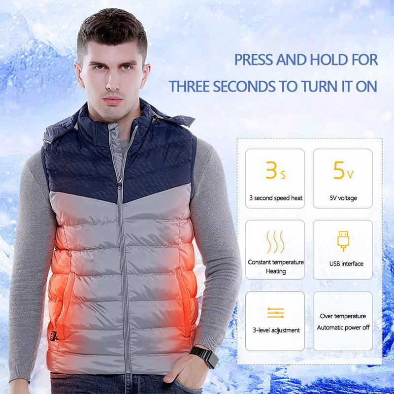 USB Smart Heating Men's Cotton Vest Color Matching Hooded Men's Electric Casual Vest Winter Heating Clothes contrast trim zip up hooded vest